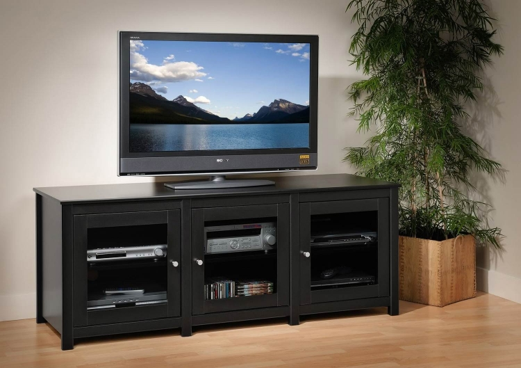 Santino Flat Panel Plasma / LCD TV Console with Glass Doors - Black - Prepac