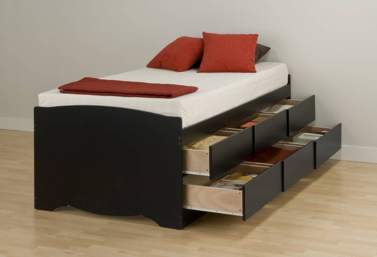 Black Tall Platform Storage Bed