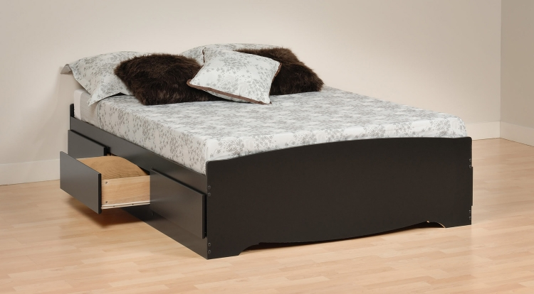 Mate's Platform Storage Bed with 6 Drawers - Black