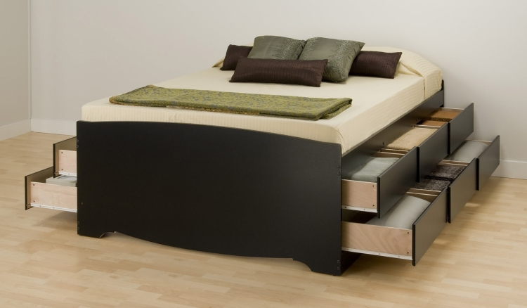 Captain�s Platform Storage Bed with 12 Drawers - Black - Prepac