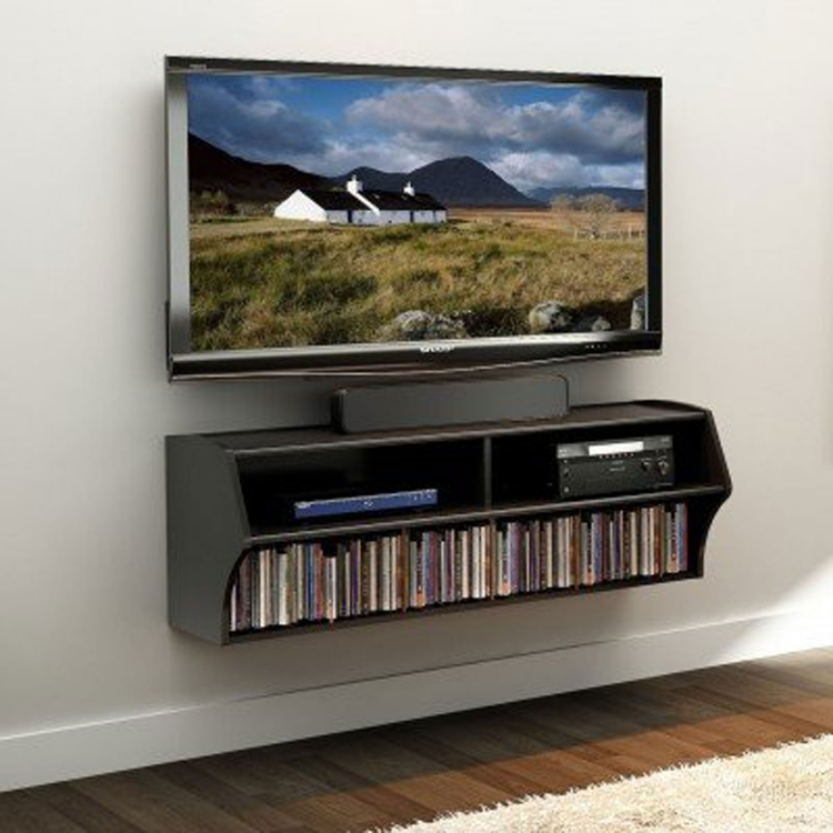Altus Wall Mounted Audio/Video Console - Black - Prepac