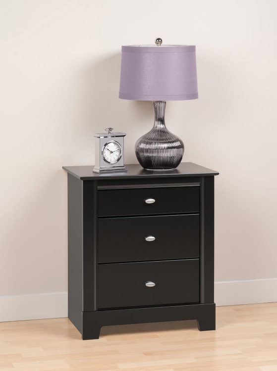 Kallisto 3 Drawer Night Stand - Black