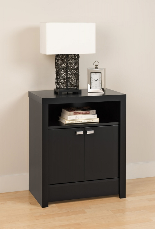 Series 9 - 2 Door Tall Night Stand - Black