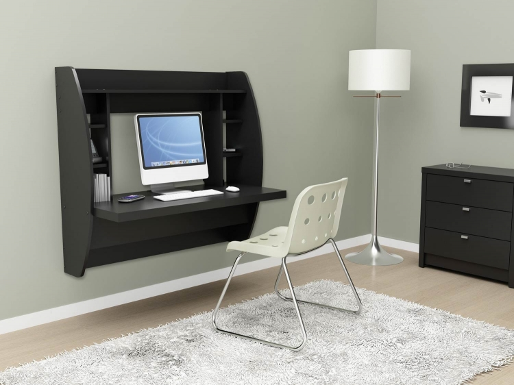 Floating Desk with Storage - Black - Prepac