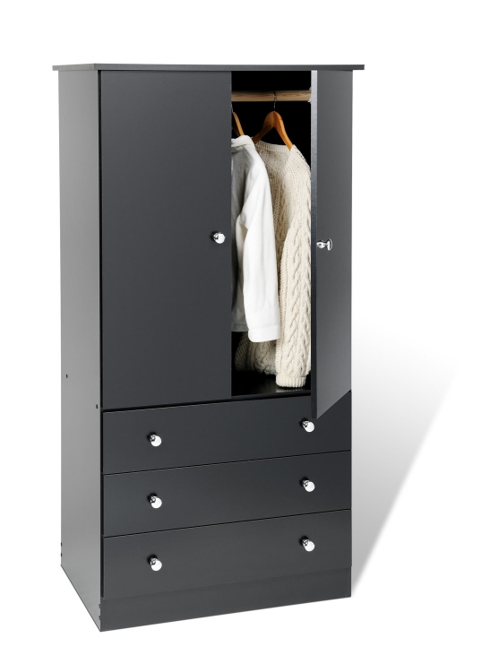 Edenvale 3 Drawer Wardrobe - Black - Prepac