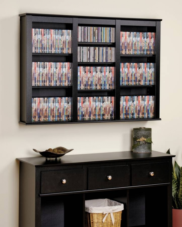 Black Triple Floating Wall Storage - Prepac