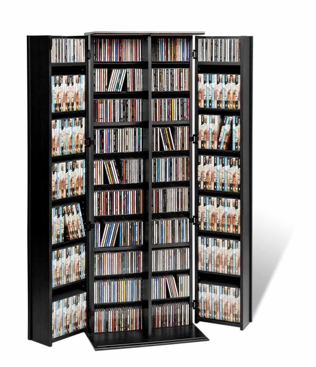 Grande Locking Media Storage Cabinet with Shaker Doors - Black