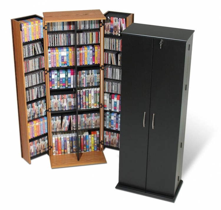 Black Grande Locking Media Storage Cabinet - Prepac