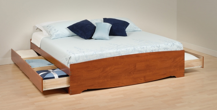 Mate's Platform Storage Bed with 6 Drawers - Cherry