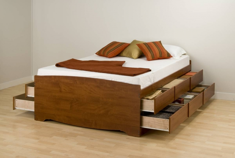 Cherry Tall Platform Storage Bed - Prepac