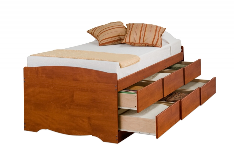 Captain�s Platform Storage Bed with 6 Drawers - Cherry