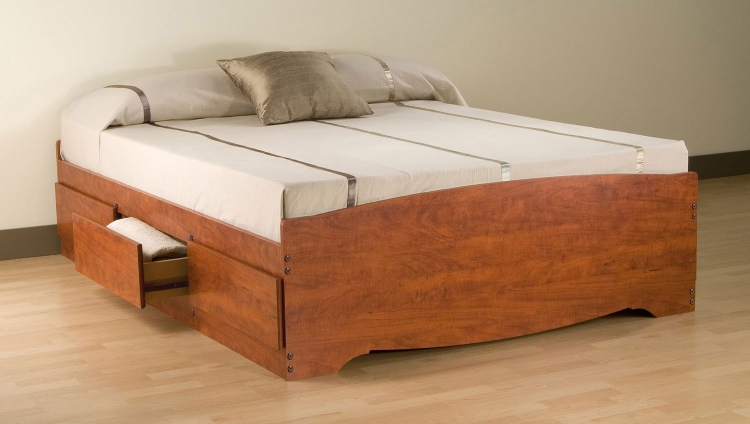 Mate�s Platform Storage Bed with 6 Drawers - Cherry