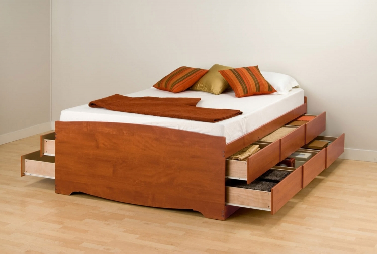 Captain�s Platform Storage Bed with 12 Drawers - Cherry
