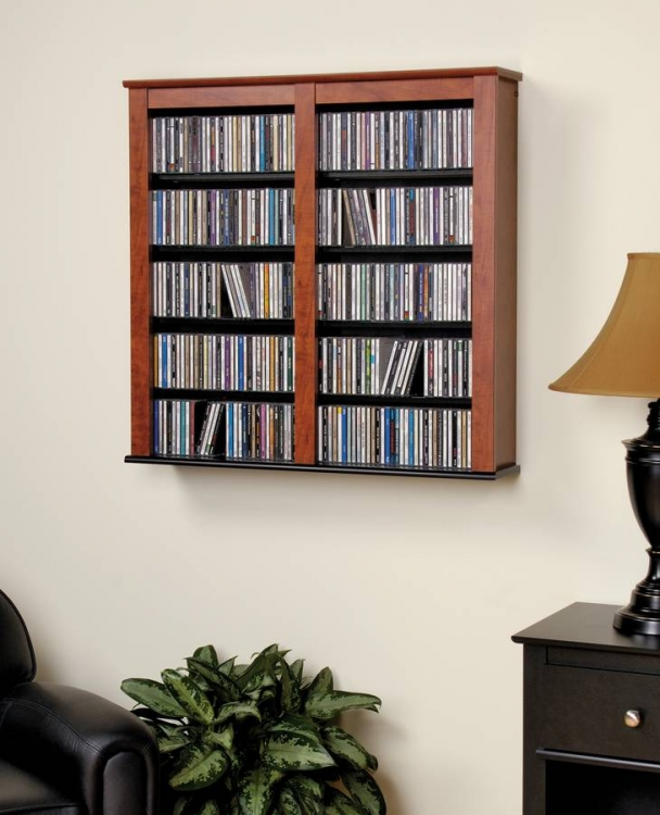 Cherry-Black Double Floating Wall Storage - Prepac