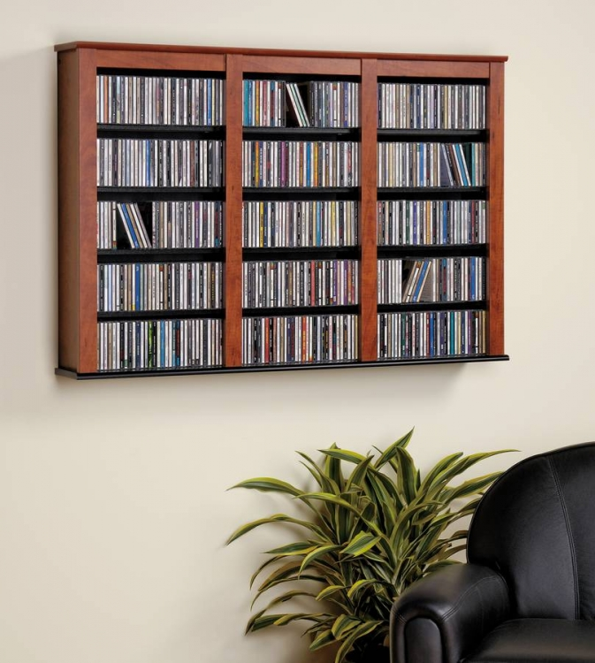 Cherry-Black Triple Floating Wall Storage - Prepac