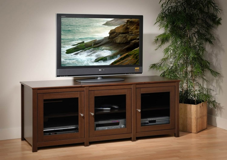 Santino Flat Panel Plasma / LCD TV Console with Glass Doors - Espresso