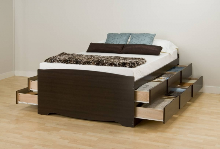 Espresso Tall Platform Storage Bed - Prepac