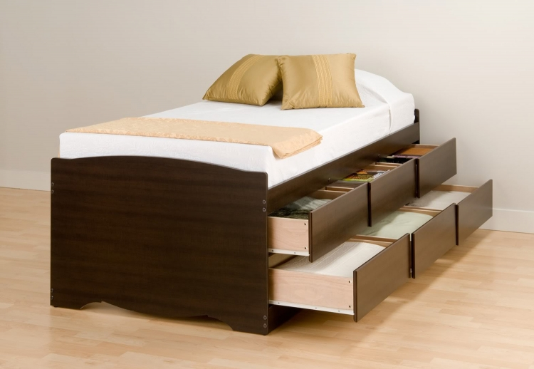 Captain�s Platform Storage Bed with 6 Drawers - Espresso