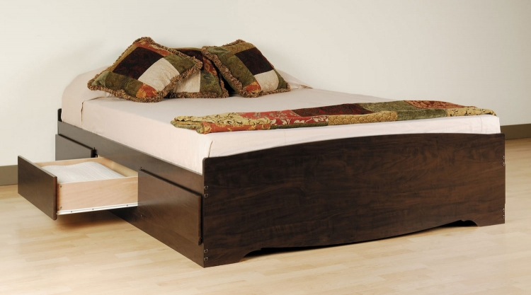 Mate's Platform Storage Bed with 6 Drawers - Espresso