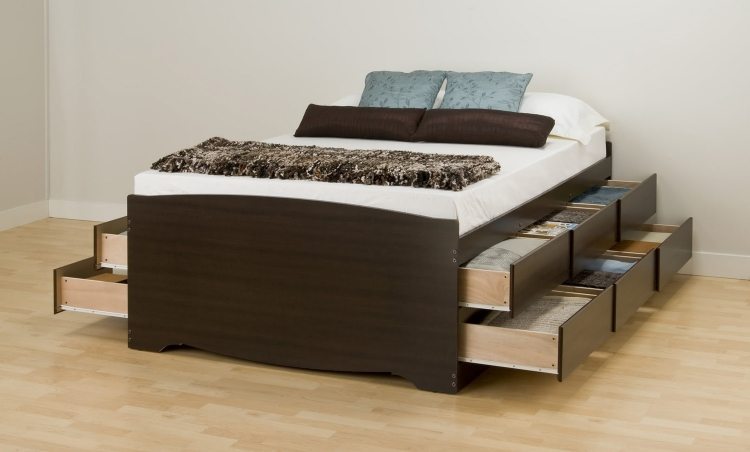 Captain�s Platform Storage Bed with 12 Drawers - Espresso