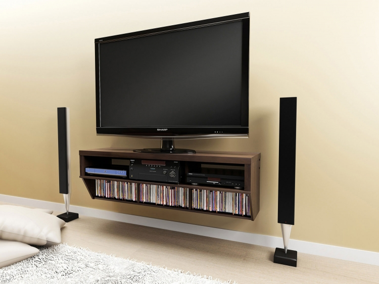 58 Inch Wide Wall Mounted Audio/Video Console - Espresso