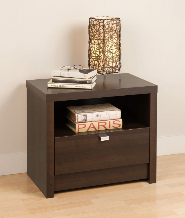 Series 9 1-Drawer Night Stand - Espresso - Prepac
