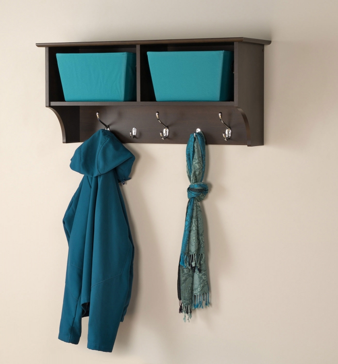 36 Inch Wide Hanging Entryway Shelf - Espresso