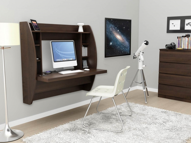 Floating Desk with Storage - Espresso - Prepac
