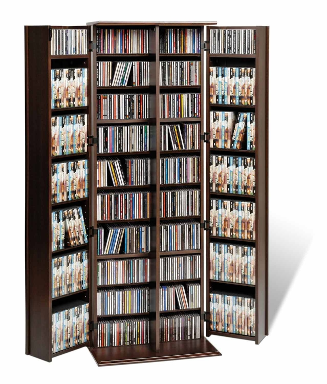 Grande Locking Media Storage Cabinet with Shaker Doors - Espresso