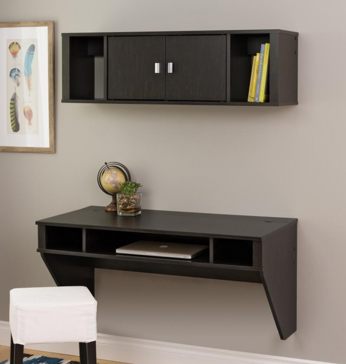 Designer Floating Desk and Hutch Set - Washed Black