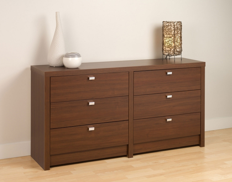 Series 9 6-Drawer Dresser - Medium Brown Walnut - Prepac