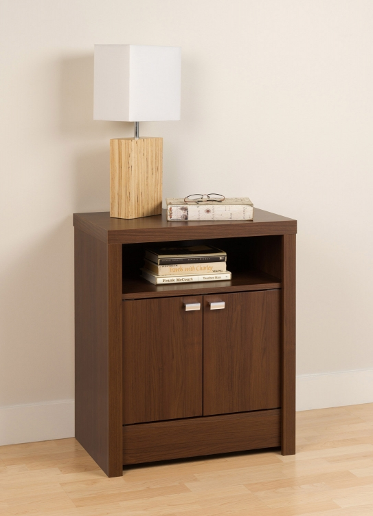 Series 9 2-Door Night Stand - Medium Brown Walnut - Prepac