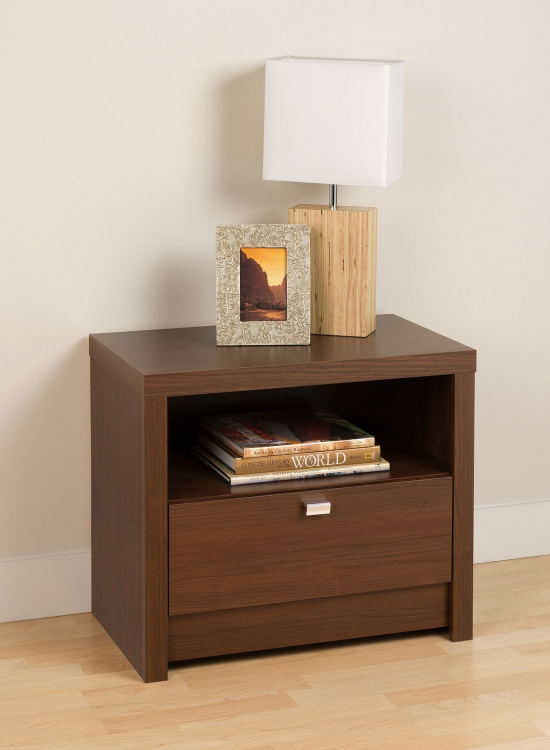 Series 9 1-Drawer Night Stand - Medium Brown Walnut