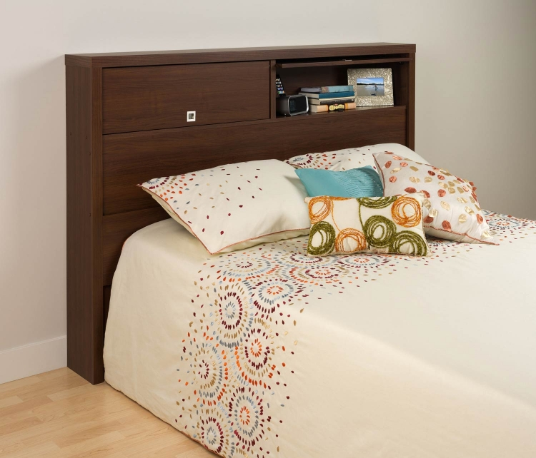 Series 9 2-Door Storage Headboard - Medium Brown Walnut