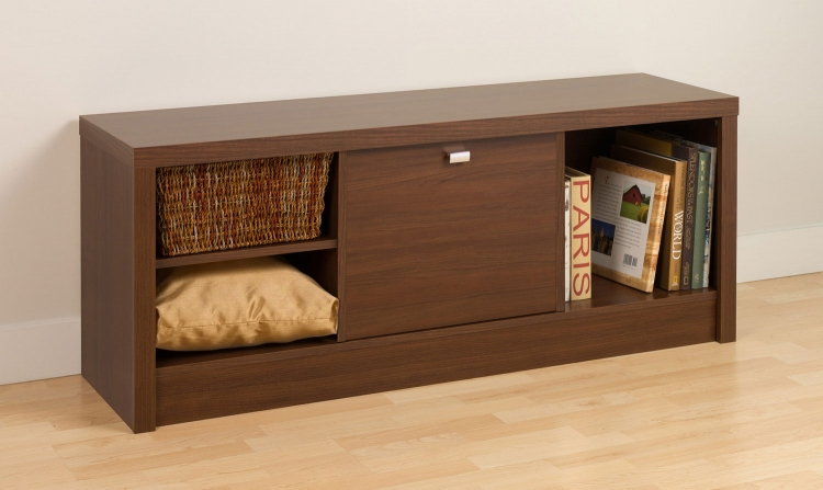 Series 9 1-Door Cubbie Bench - Medium Brown Walnut