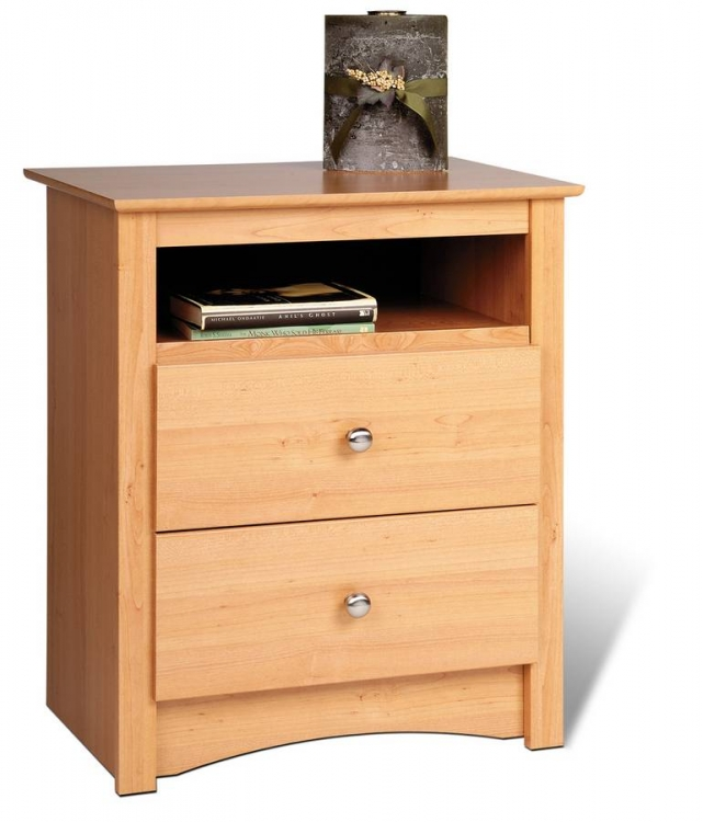 Maple Sonoma 2 Drawer Tall Night Table with Open Shelf