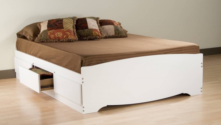 White Platform Storage Bed