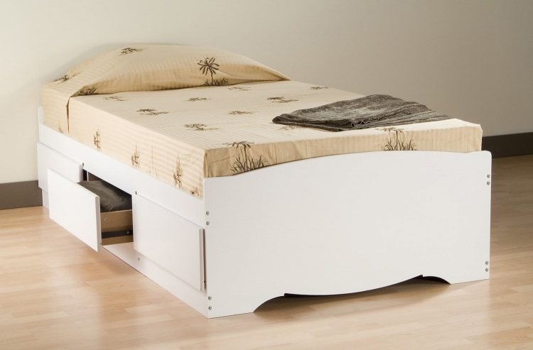 Mate's Platform Storage Bed with 3 Drawers - White