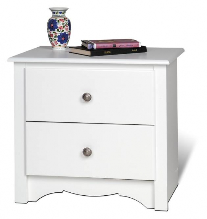 White Monterey 2 Drawer Night Stand