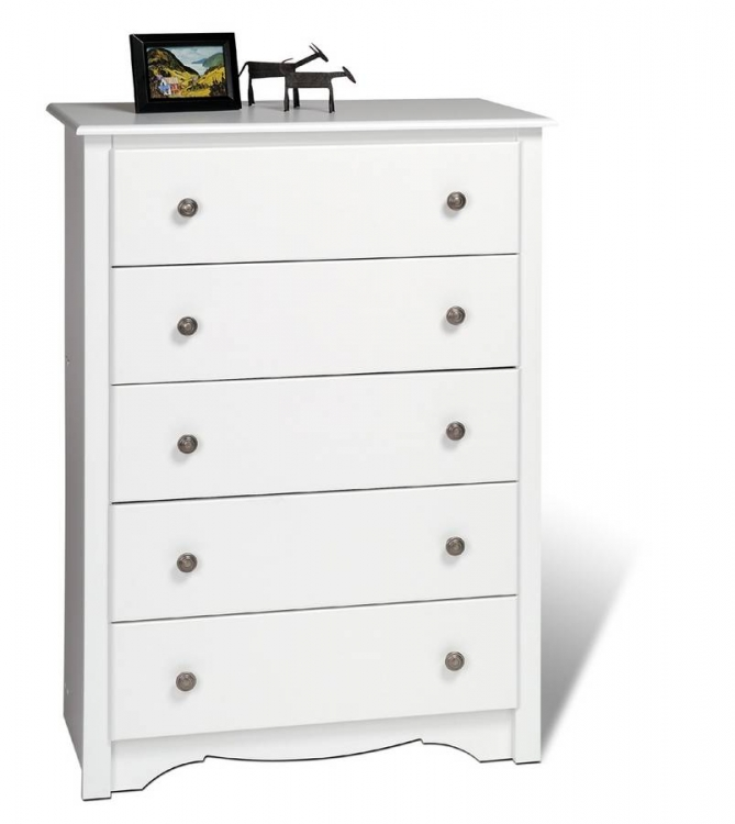 White Monterey 5 Drawer Chest