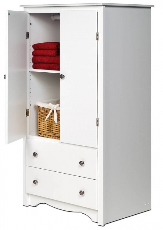 White Monterey 2 Door Armoire - Prepac