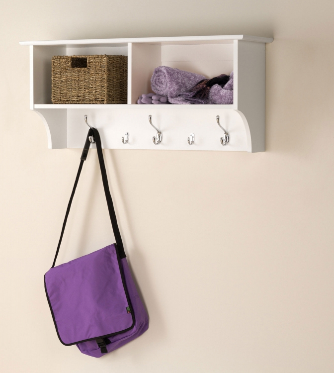 36 Inch Wide Hanging Entryway Shelf - White