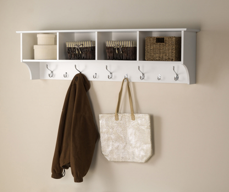 60 Inch Wide Hanging Entryway Shelf - White