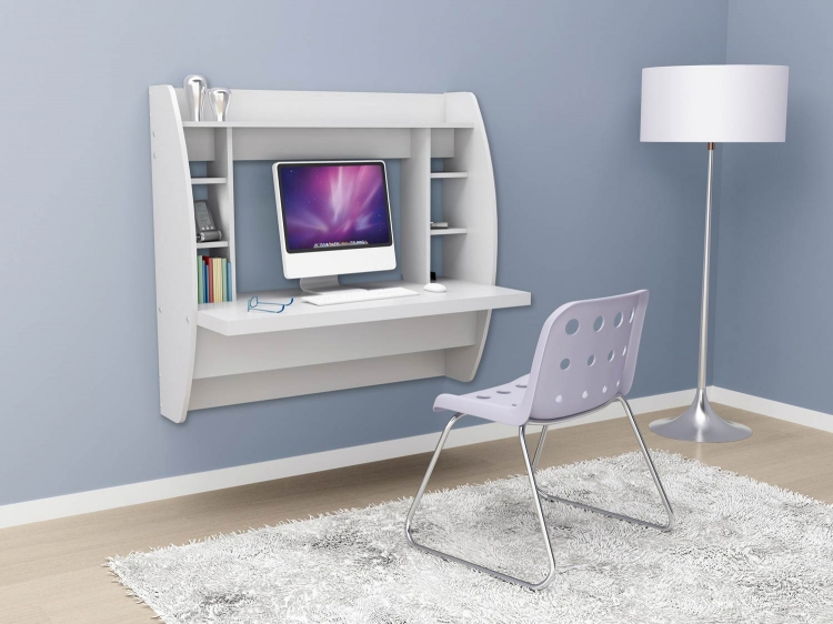 Floating Desk with Storage - White - Prepac