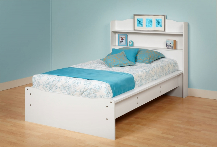 Aspen Platform Bed with Integrated Headboard - White - Prepac
