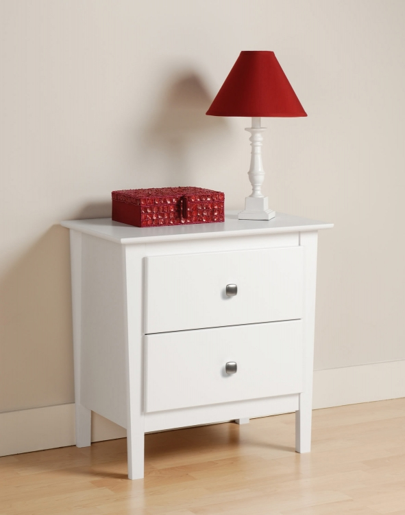 Berkshire 2 Drawer Night Stand - White