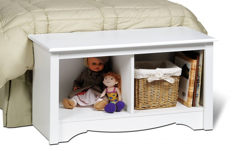 White Monterey Twin Cubbie Bench