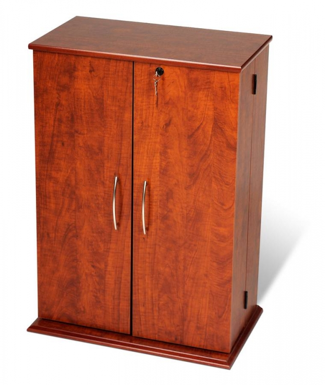 Cherry-Black Small Locking Media Storage Cabinet