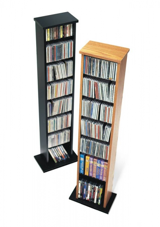 Oak-Black Slim Multimedia Storage Tower