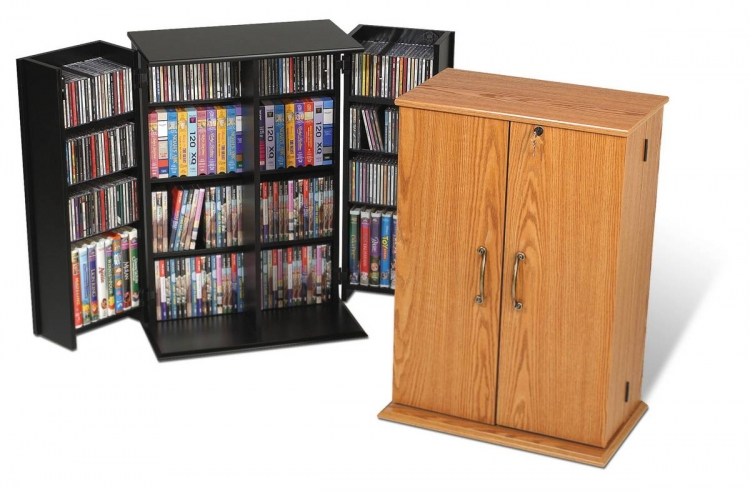 Oak Small Locking Media Storage Cabinet - Prepac